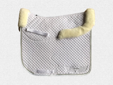 Dressage saddle pad - with merino fleece half pad lining - White