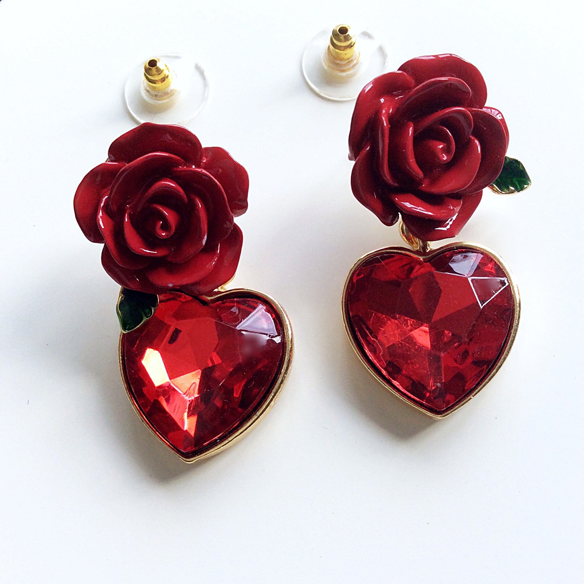 Deep red rose heart diamant pendant earrings littledreamer uk deep red rose heart diamant pendant earrings mozeypictures Choice Image