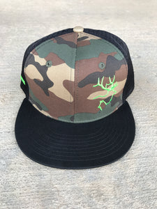 Flat Brim- Camo with Black
