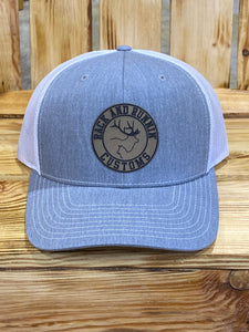 Heather gray and white patch hat