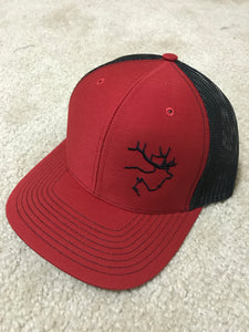 Red/black hat black logo