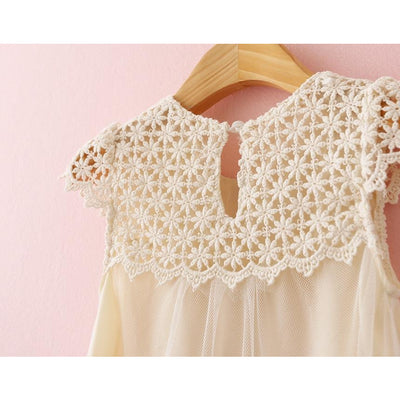 Cream toddler dress front lace