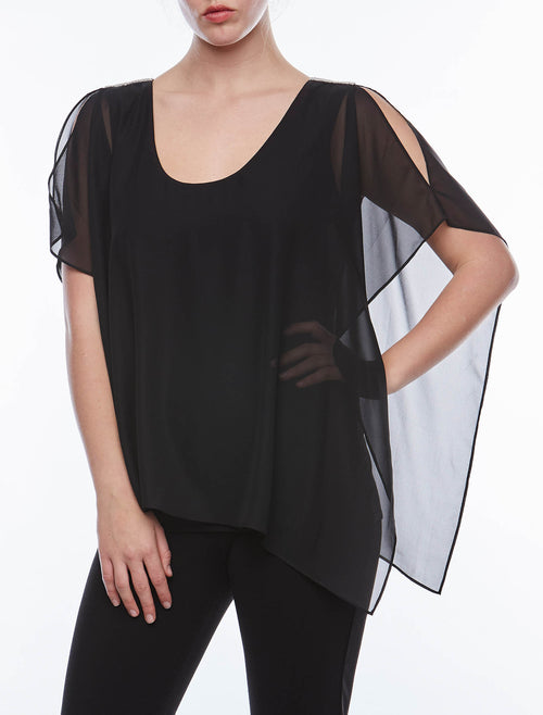 S/S Overlay Cold Shoulder Top