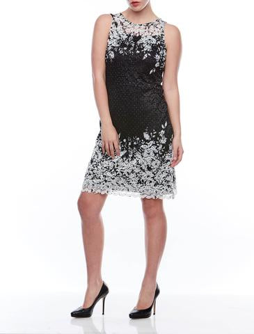 S/Less Mesh and Lace Print Dress