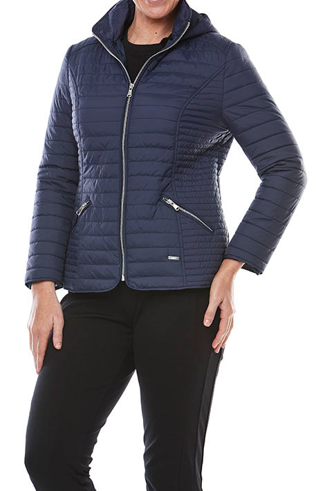 Zip Front Quilted Jacket With Hood