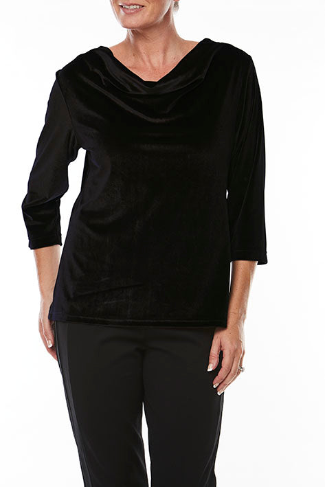Elbow Slv Cowl Velour Top