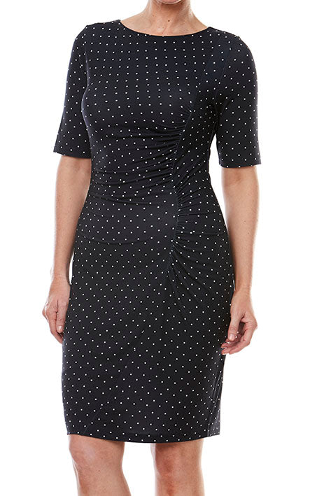 Elbow Slv Spot Dress