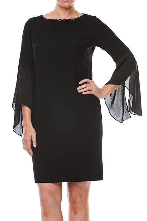 Bell Slv Crepe Shift Dress