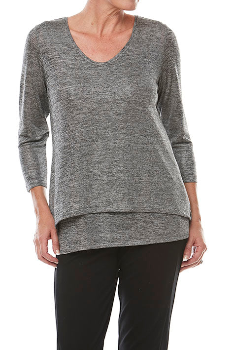 V Neck 3/4 Slv Overlay Top