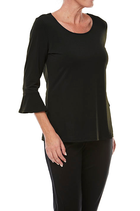 3/4 Slv Plain Top With Slv Detail
