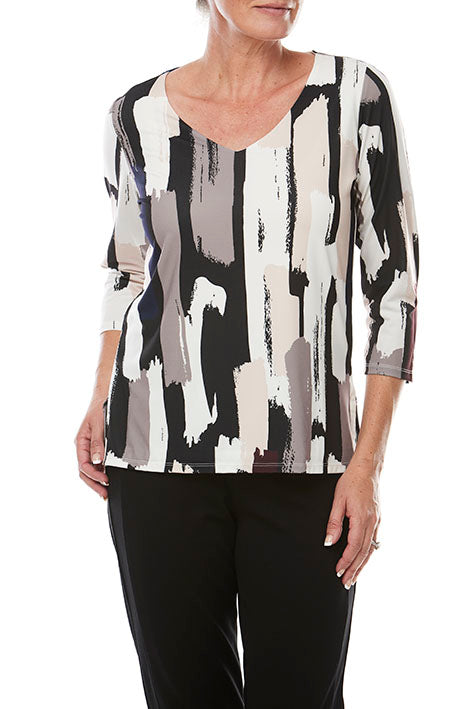 3/4 Slv Print V Neck Top