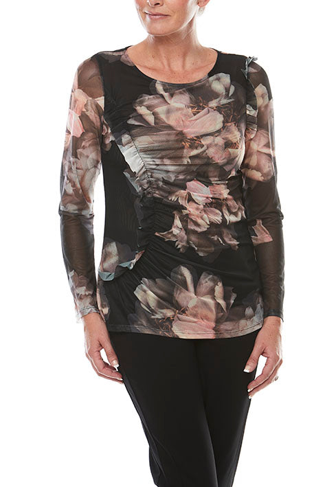 Long Slv Mesh Print Top