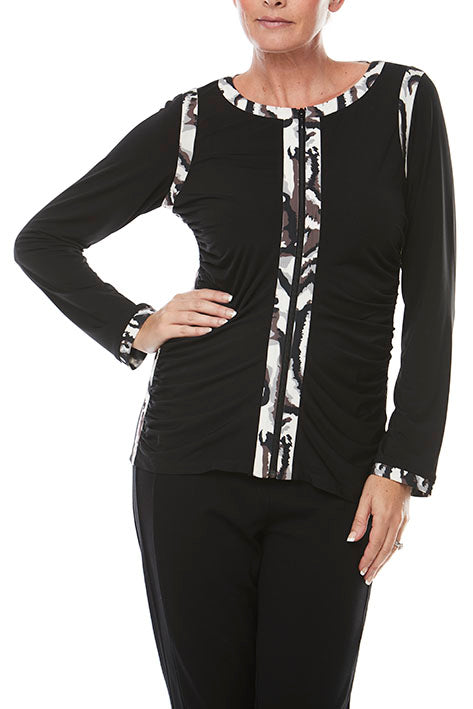 L/Slv Zip Front With Print Trim Top
