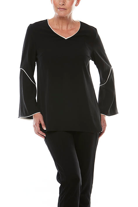 V Neck Top With Slv Detail
