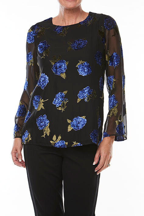 Flocked Burnout Print Top