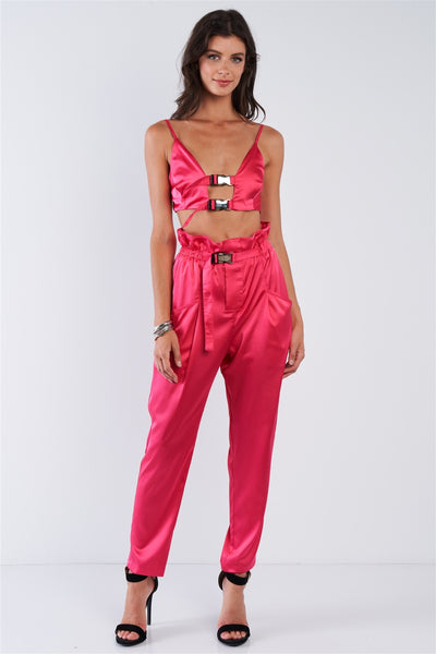 Fuchsia Pink Satin Buckle Hardware Crop Top High Waisted Tapered Pant Set