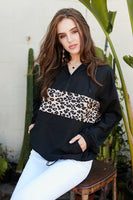 Contrast Leopard Print Front Zipper Up Kangaroo Pocket Windbreaker Hoodie