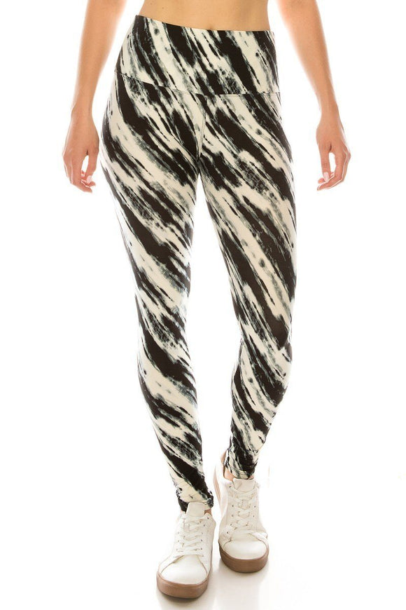 Long Yoga Style Banded Lined Multi Printed Knit Legging With High Waist.