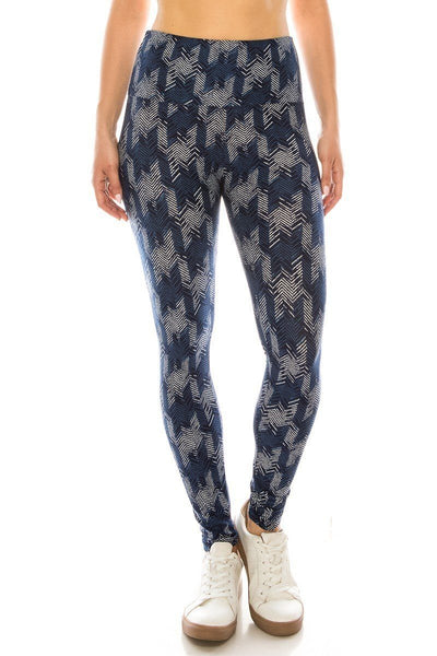 Long Yoga Style Banded Lined Multi Printed Knit Legging With High Waist