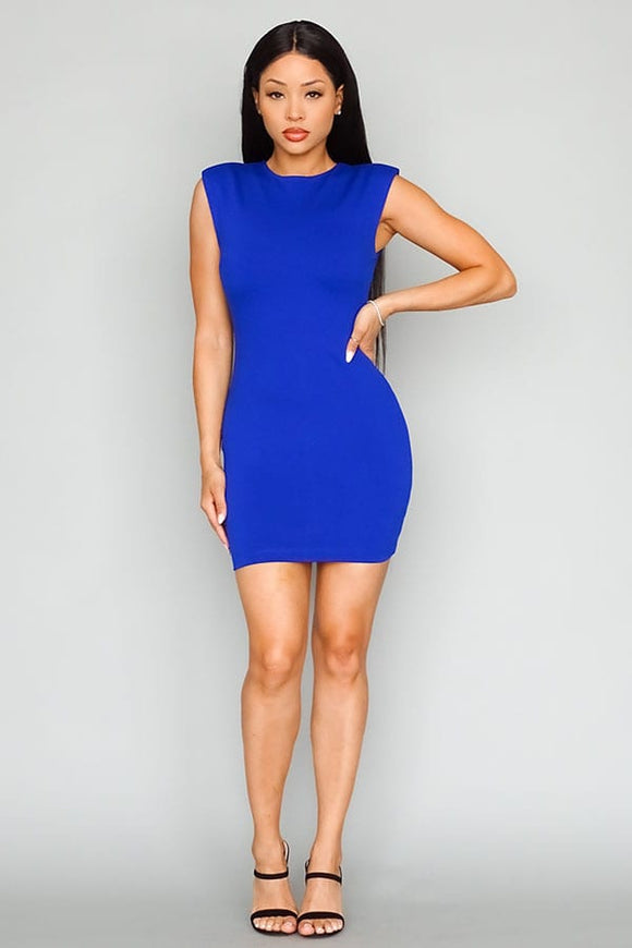 Power Shoulder Basic Sleeveless Mini Dress