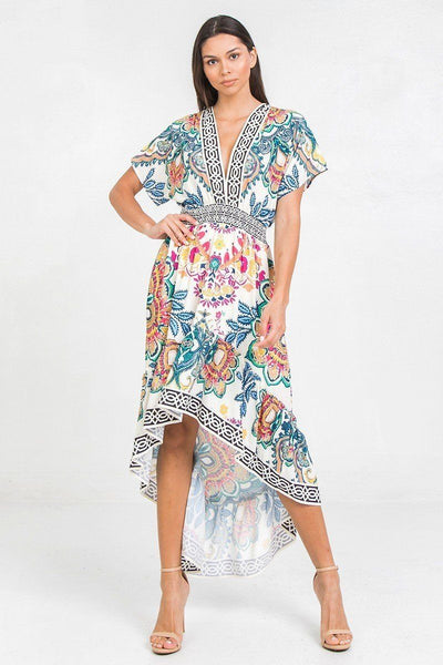 A Printed Woven Hi-lo Dress