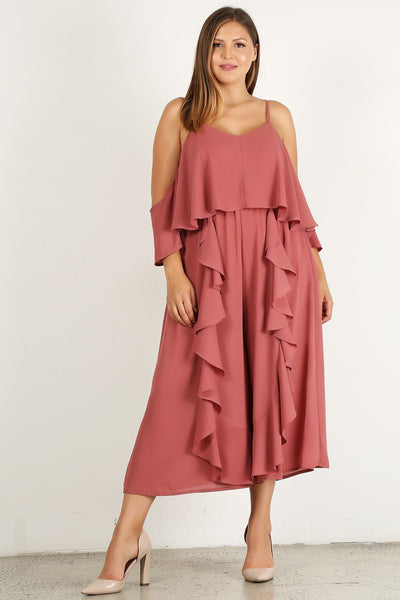 Plus Size Solid Wide Leg Jumpsuit