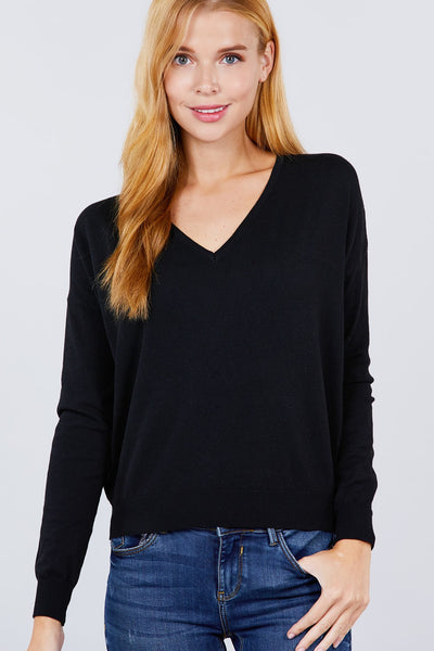V-neck Back Cross Sweater