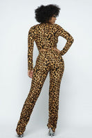 Leopard Printed Crop Top O Ringdetail Bottom Shirring Pant Set