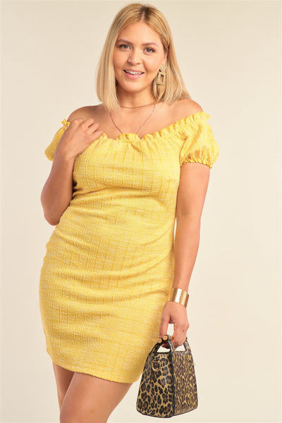 Plus Size Lemon Yellow Sparkly Tweed Plaid Fitted Off-the-shoulder Frill Hem Mini Dress