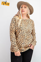 Long Sleeve Leopard Printed Terry Knit Pullover