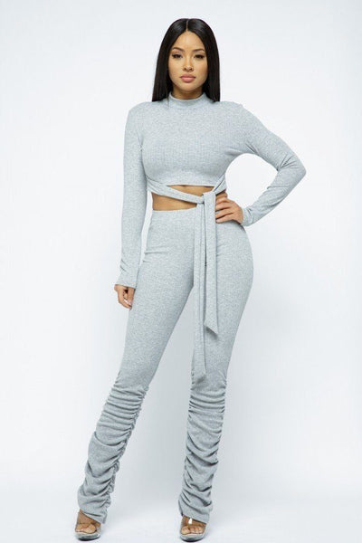 Rib Mock Neck Long Slv Top Ruched Pant Set