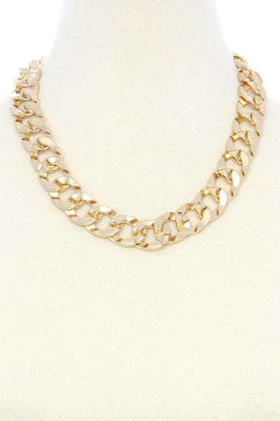 Cuban Link Chain Metal Necklace