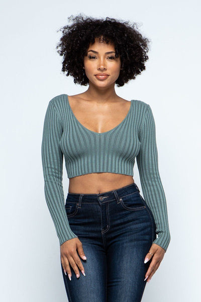 Long Sleeve V-neck Drop Top