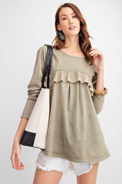 Long Sleeve Ruffled Detailing Oil Washed Knit Tunic