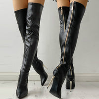 Fashion Woman High Heels Long Boots Black Over The Knee Boots Women Heel Sexy Zipper Ladies Thigh High Boots 2021 Autumn Shoes