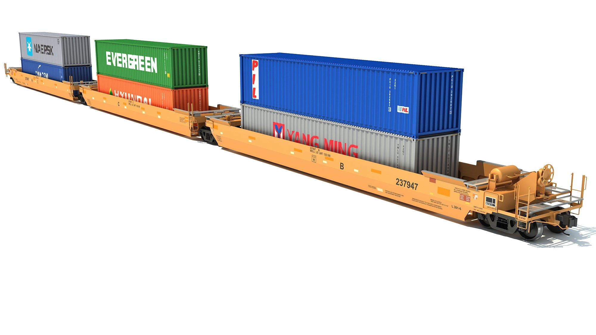 Double Stack Cars with Containers