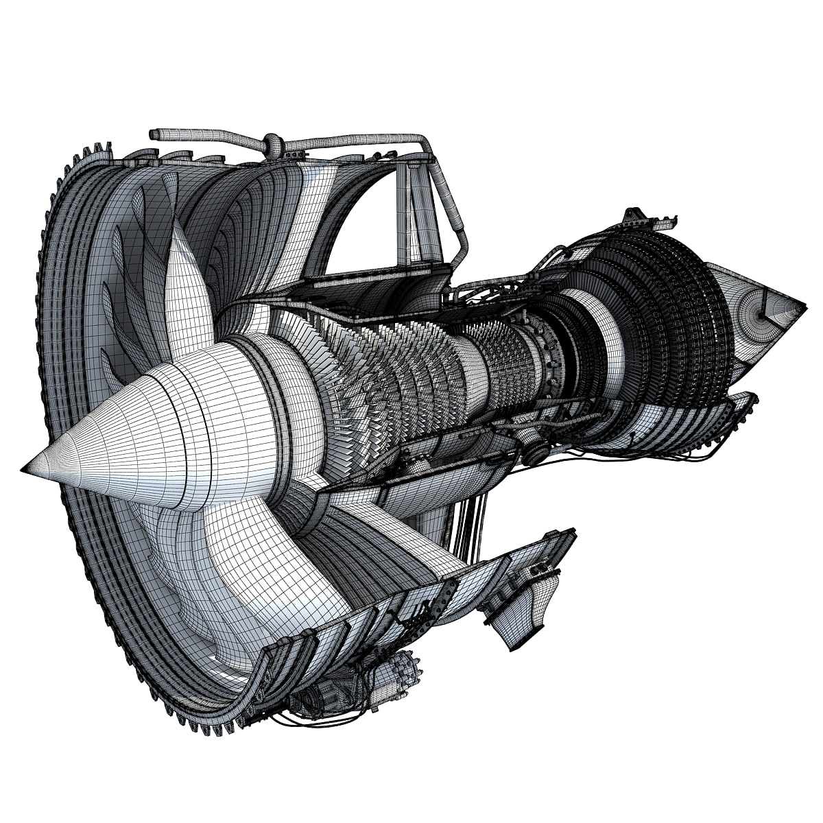 3D Model Sectioned Turbojet Engines