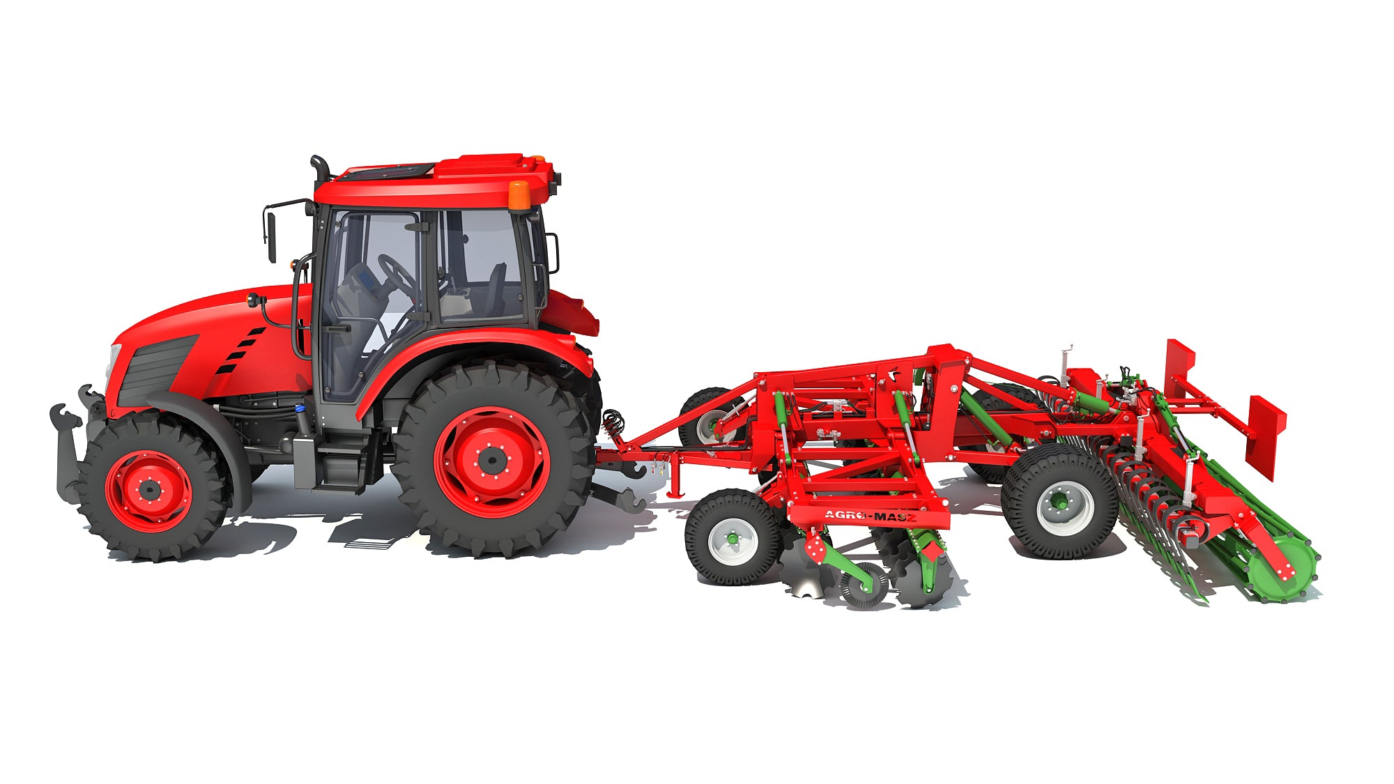 Tractor with Trailed Disc Harrow