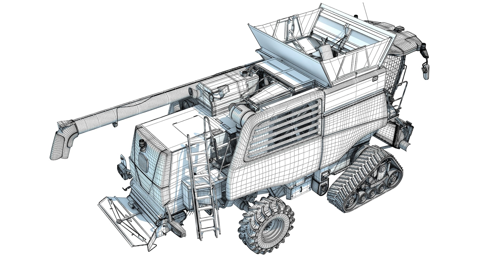 3D Tracked Combine Harvester Model