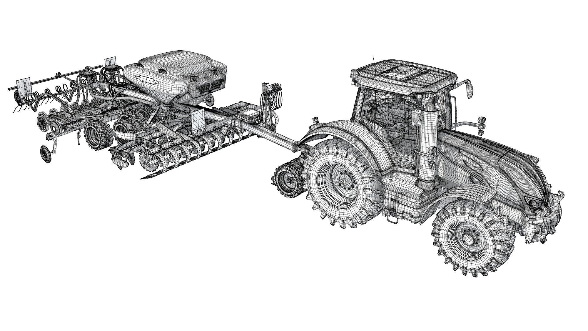 Tractor with Trailed Seed Drill