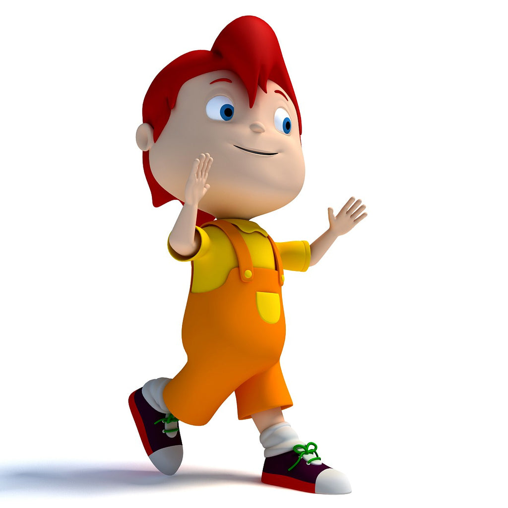 3d cartoon kid character rigged