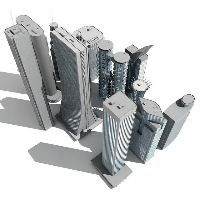 12 Skyscrapers 3D Models