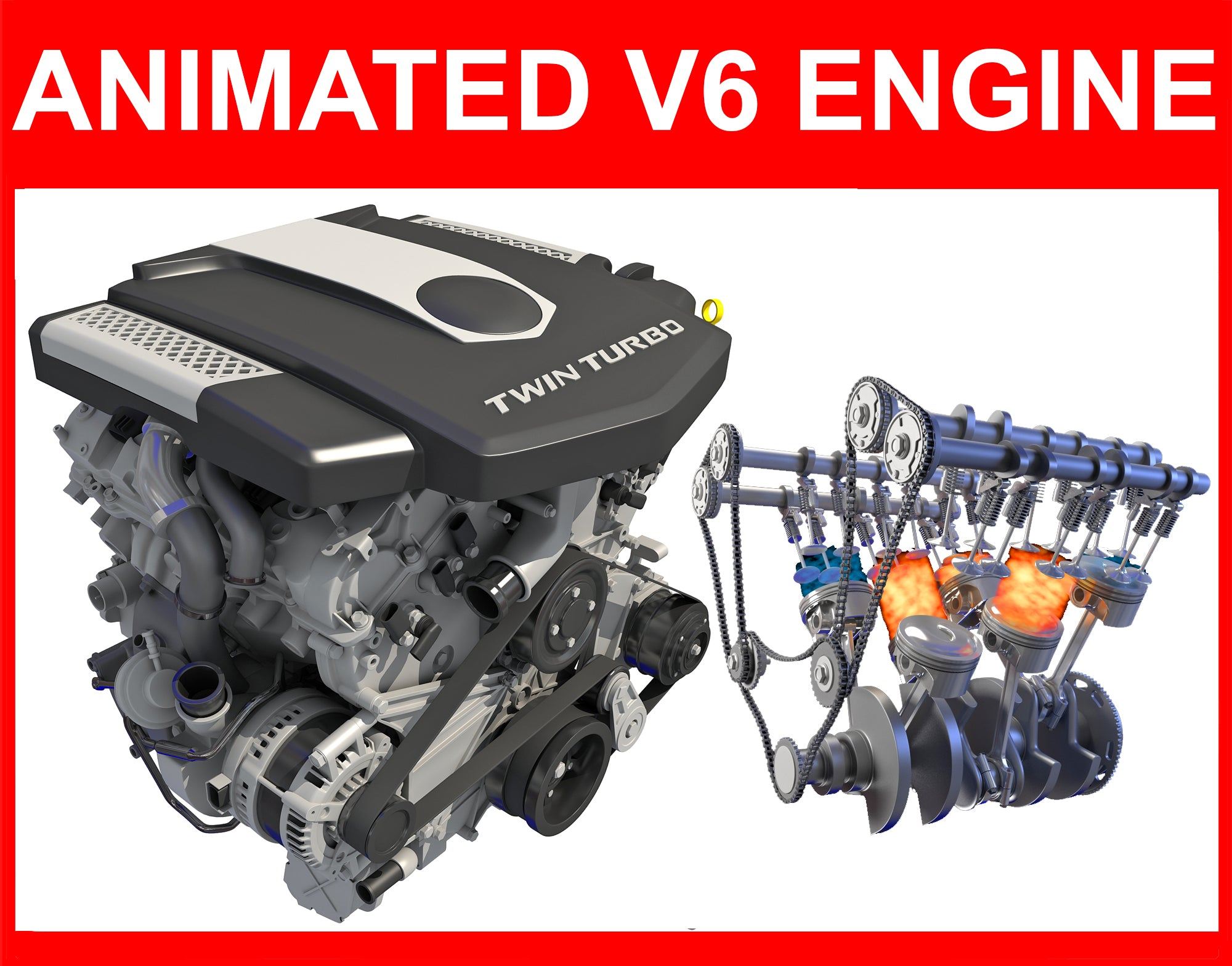 Animated V6 Engine with Ignition