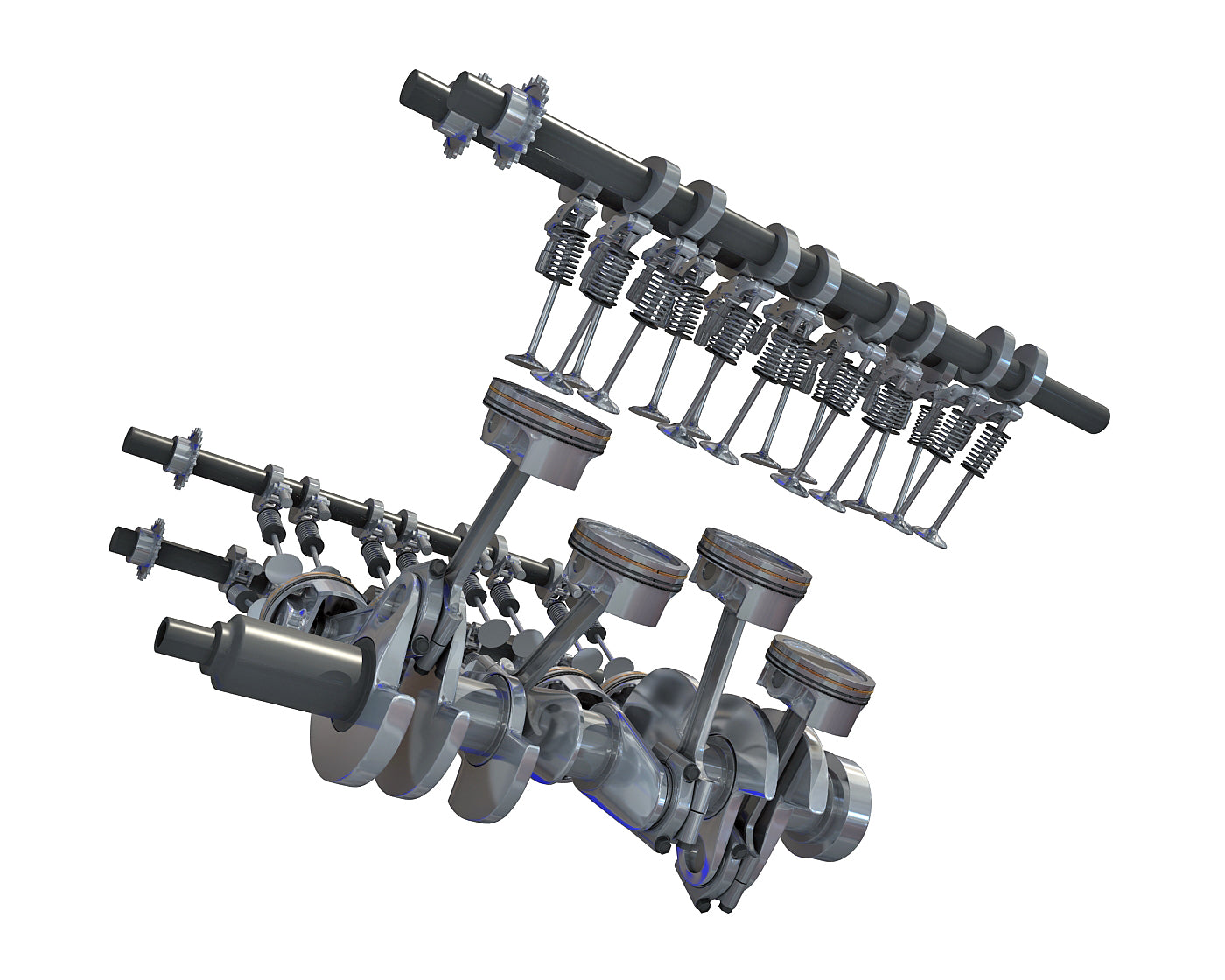 Animated V8 Engine Cylinders