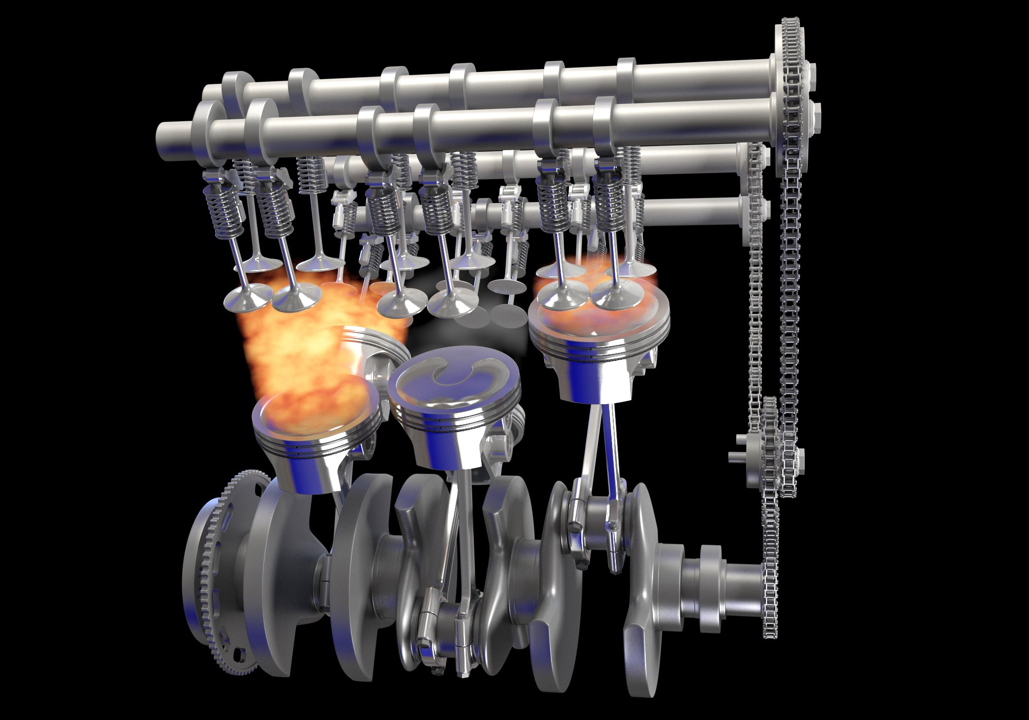 Animated V6 Engine