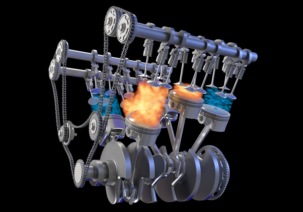 Animated V6 Engine with Gasoline Ignition
