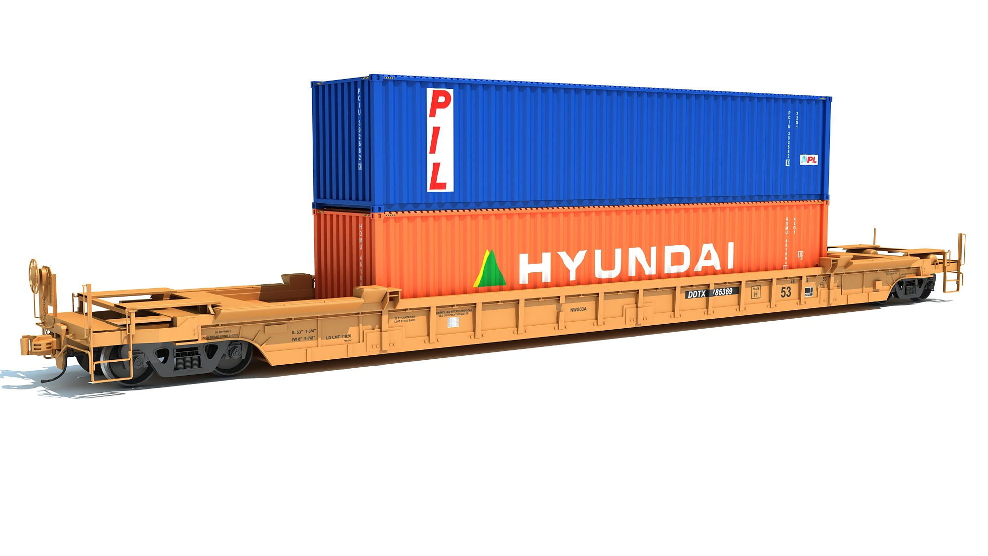 Double Stack Container Railcar