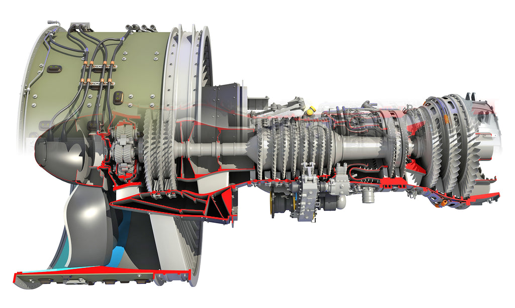 Full and Cutaway GTF Turbofan Engine