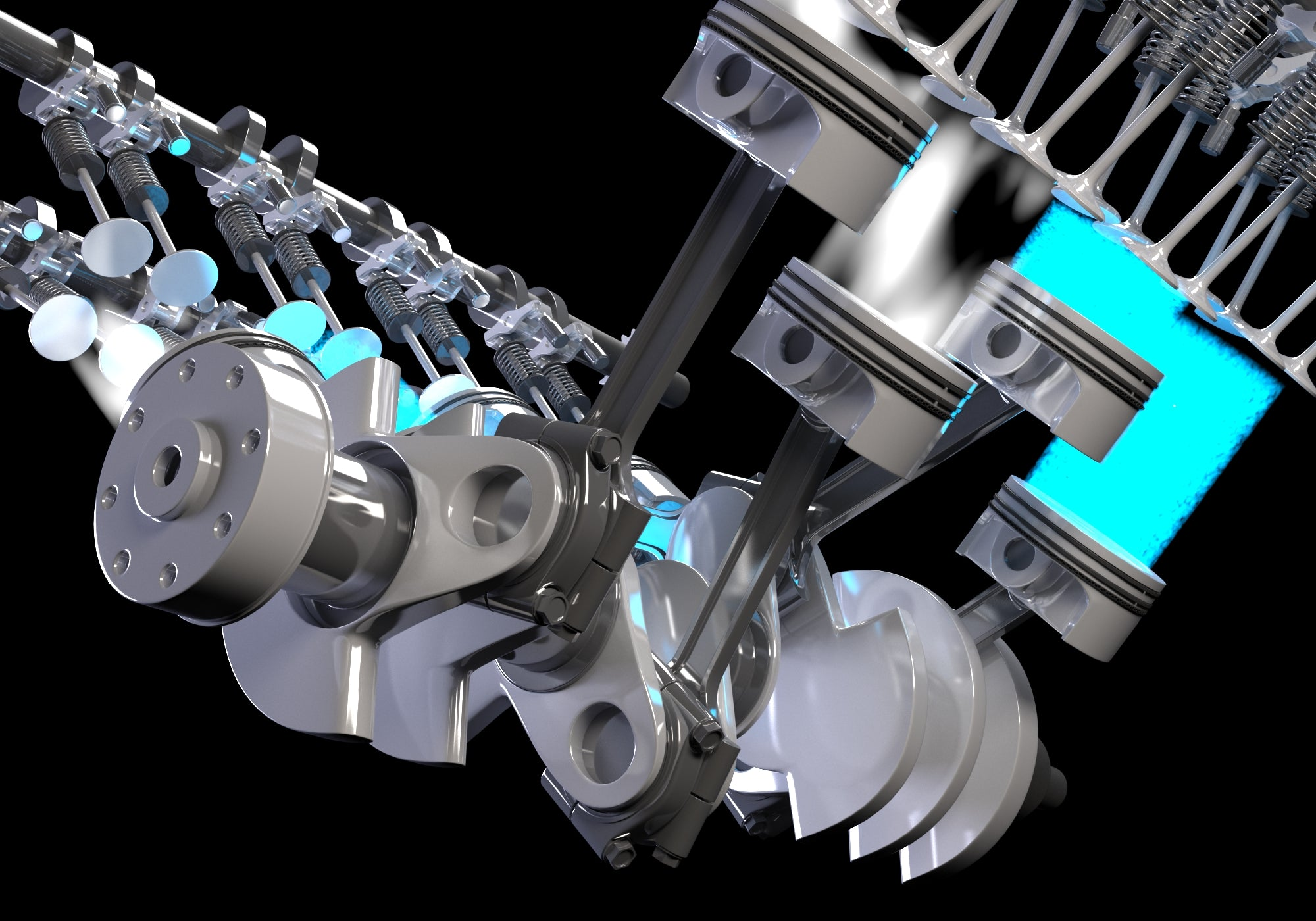 Animated V8 Engine Gasoline Ignition