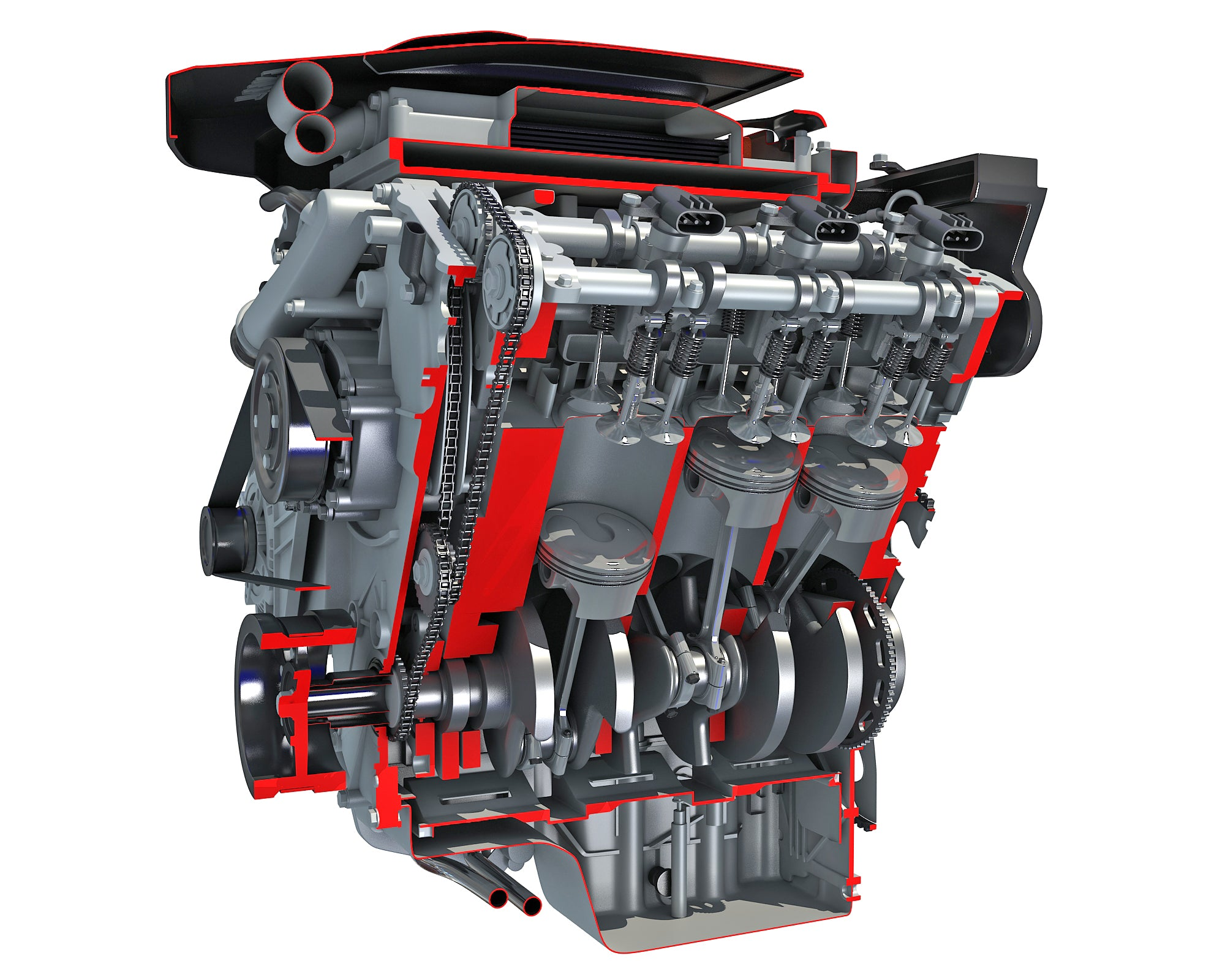 Sectioned Animated V6 Engine